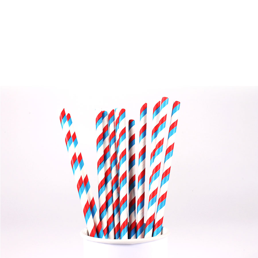 Canudo De Papel Vintage Branco Com Listras Azuis E Vermelhas 12Un