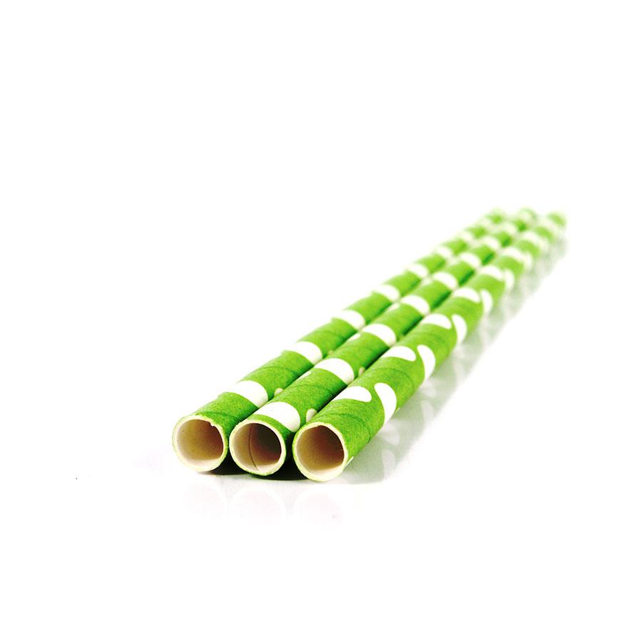 Canudo De Papel Vintage Verde Com Bolas Brancas 12Un