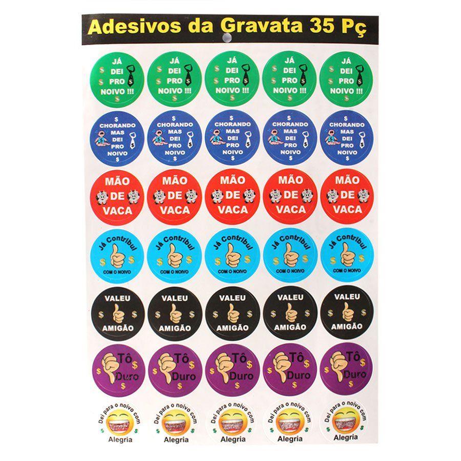 Cartela de Adesivos Hora da Gravata (35 Unidades)