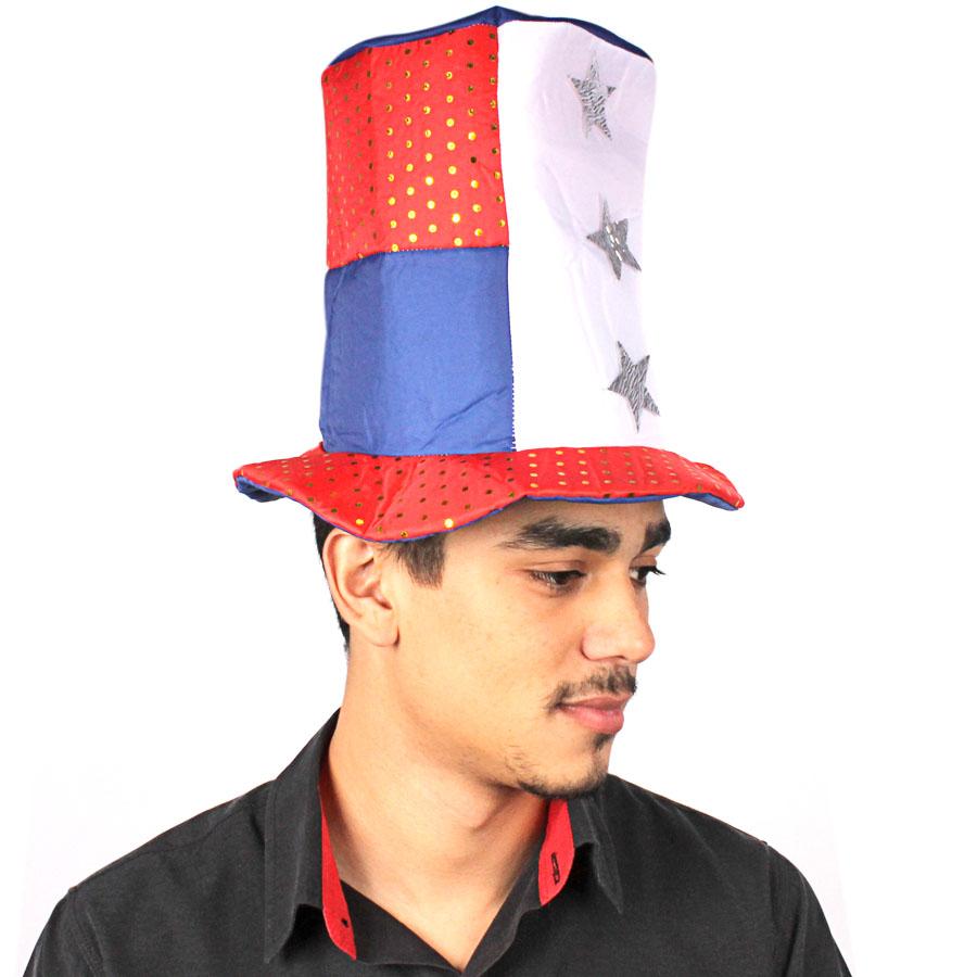 Cartola Chapéu Americano de Tecido com Paetê