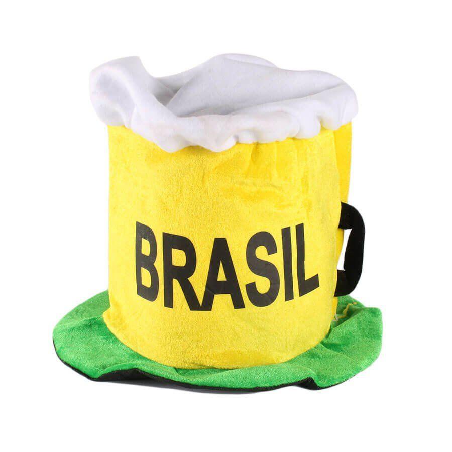 Chapéu Cartola Caneca de Chopp Torcida Brasil Copa 2018 - Aluá Festas 59b11e2b42b