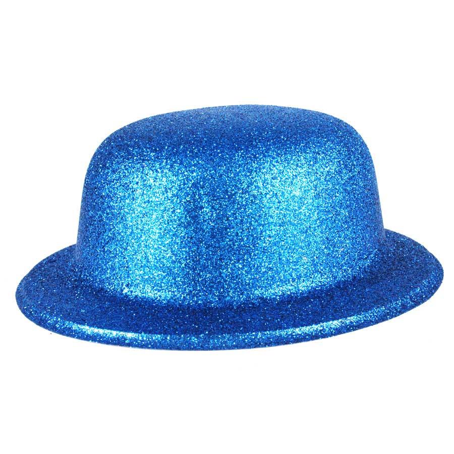 Chapéu Coquinho de Plástico com Glitter Azul