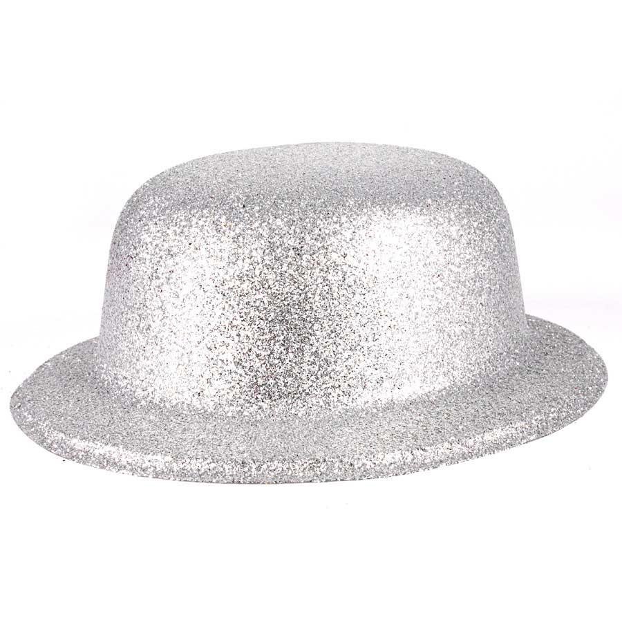 Chapéu Coquinho de Plástico com Glitter Prata