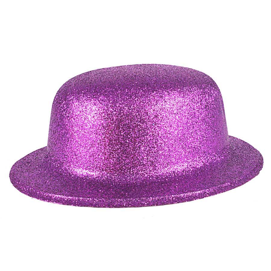 Chapéu Coquinho de Plástico com Glitter Roxo