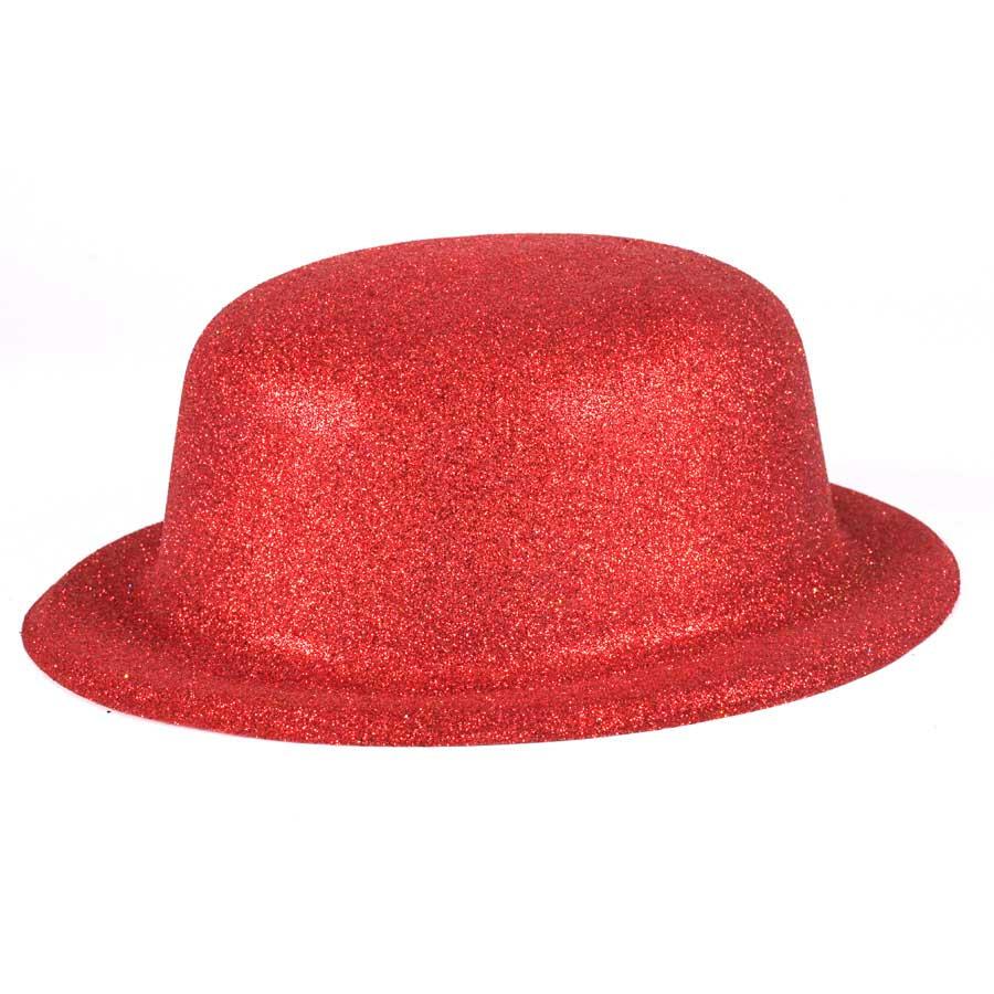 Chapéu Coquinho de Plástico com Glitter Vermelho