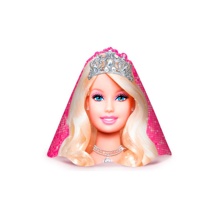 58a03215873e7 Chapéu Aniversário Barbie 8Un - Aluá Festas