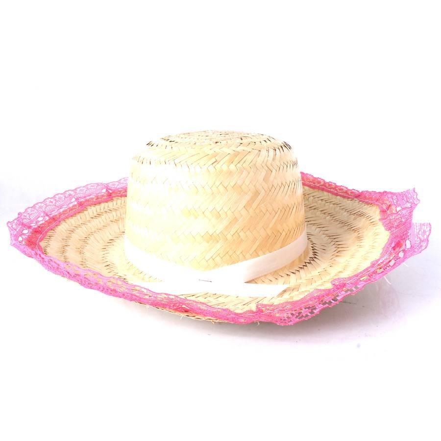 Chapéu de Palha com Renda Festa Junina Feminino - Sortidos
