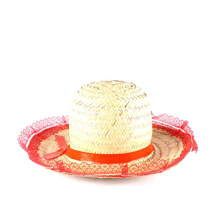 Chapéu de Palha com Renda Festa Junina Feminino - Sortidos - Aluá Festas 775ea813882