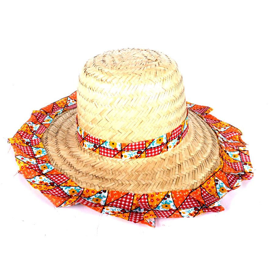 Chapéu de Palha com Tecido Colorido Festa Junina Feminino - Aluá Festas 7cac2510b7d