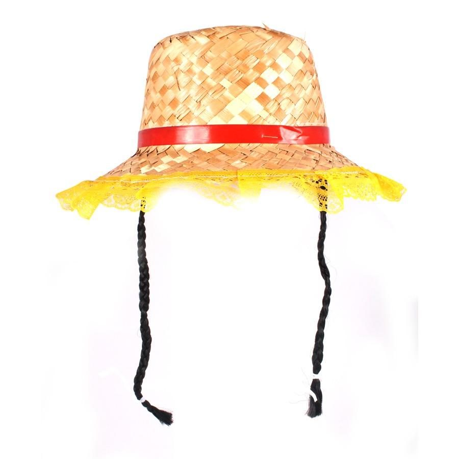 Chapéu de Palha com Tranças e Renda na Aba - Cores Sortidas - Aluá Festas f118f4ec84e