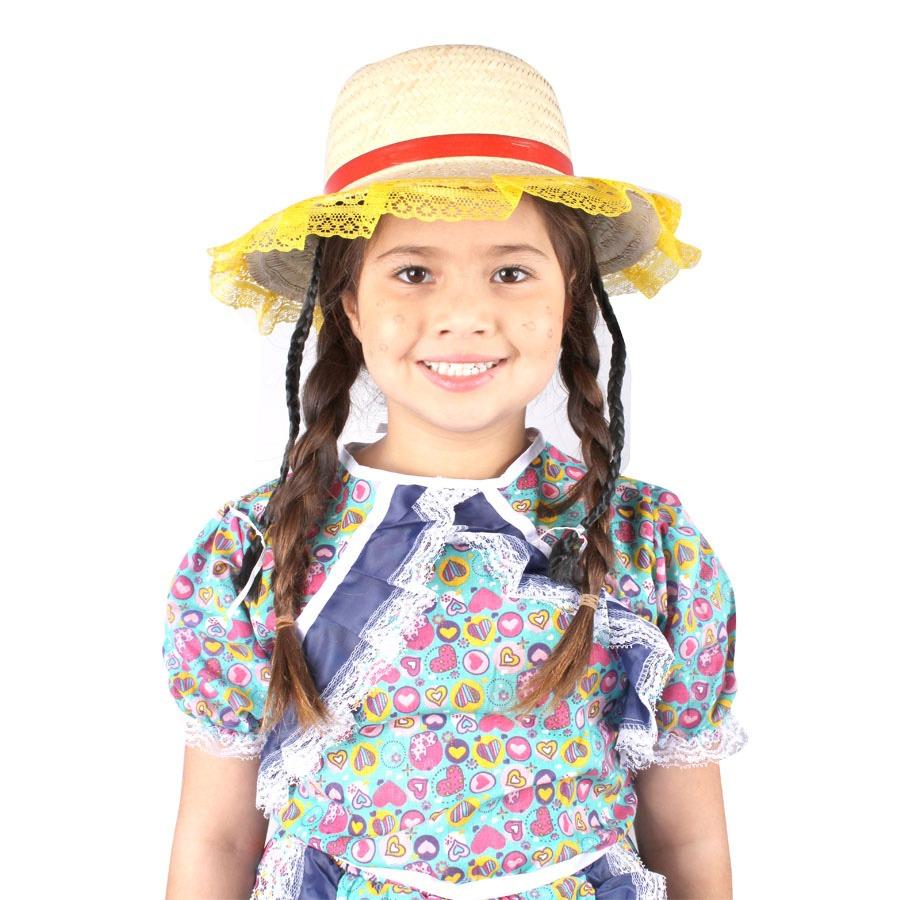 Chapéu de Palha com Tranças e Renda na Aba - Cores Sortidas