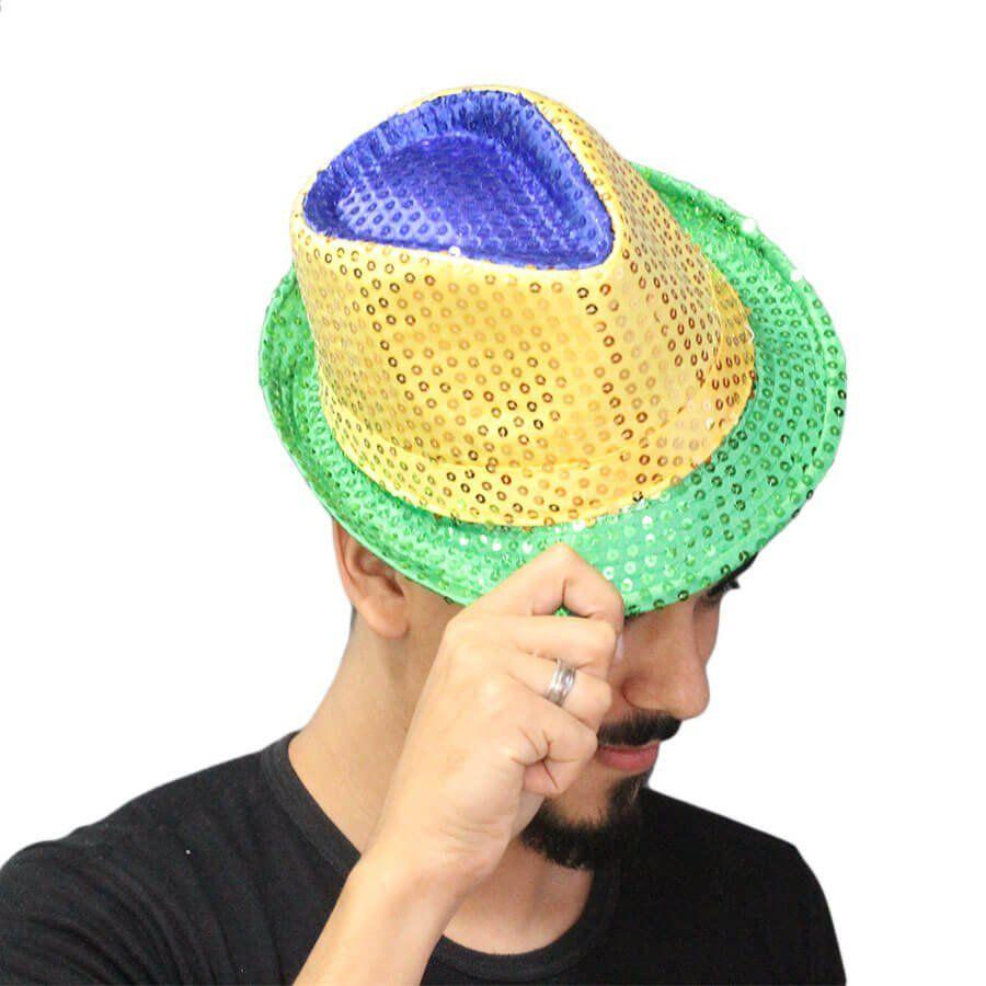 80a158382648e Chapéu Malandro Paetê Brasil Verde