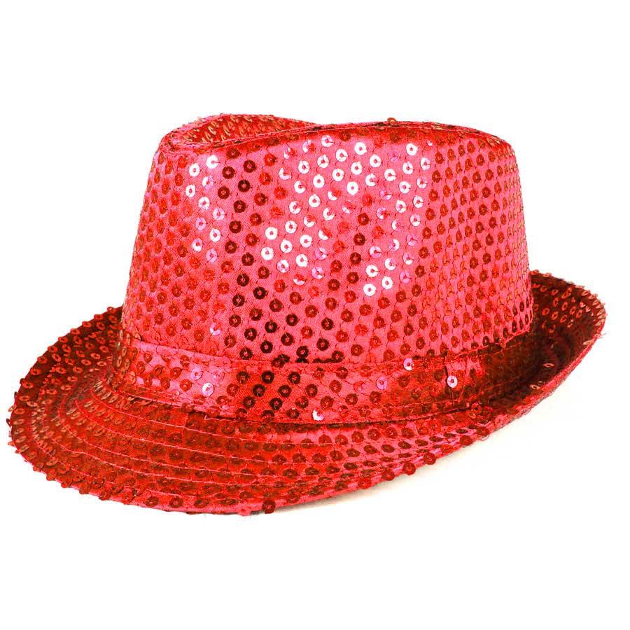 Chapéu Malandro Paetê Vermelho