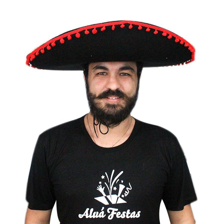 Chapéu Mexicano Sombrero - Preto - Aluá Festas 06ee485a6b0