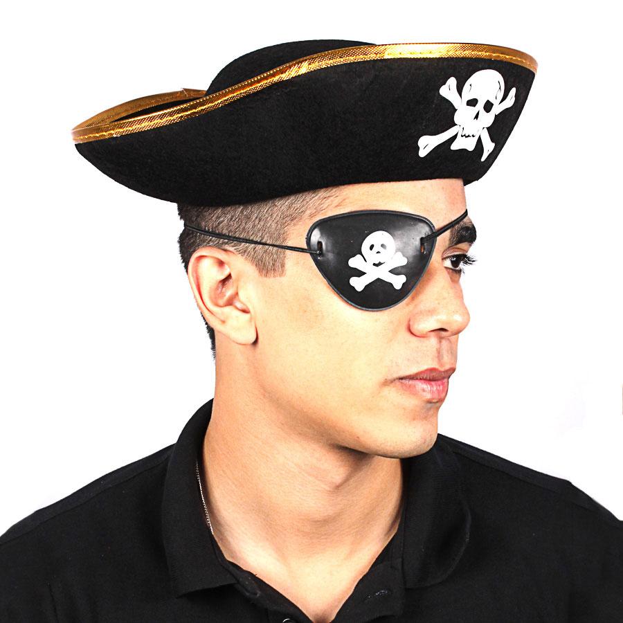 Chapéu Pirata Unissex Borda Dourada - Aluá Festas f4492e6e895