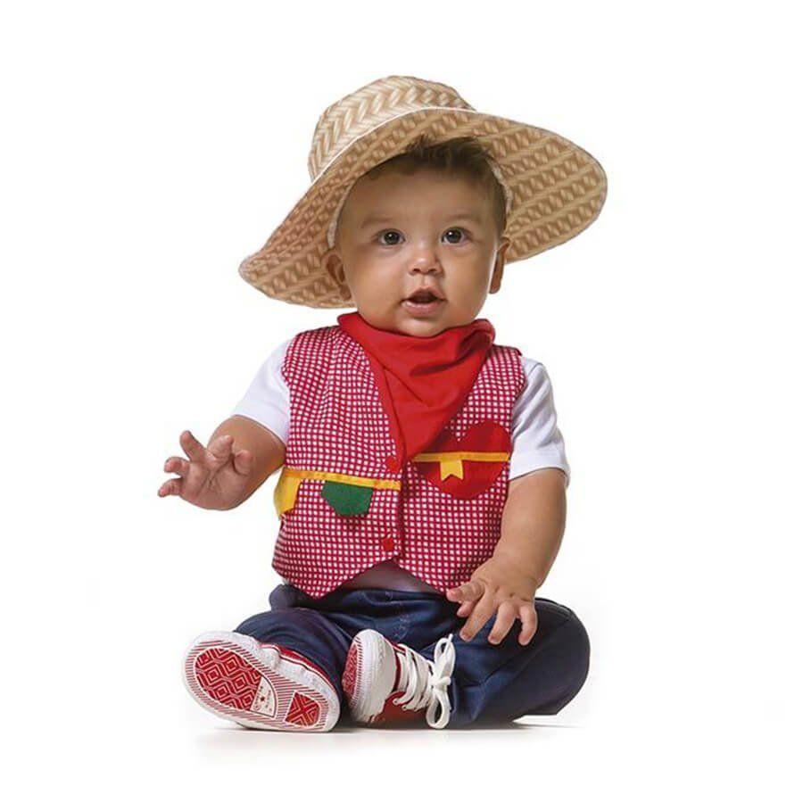 Colete Xadrez Baby de Festa Junina com Lenço de Pescoço