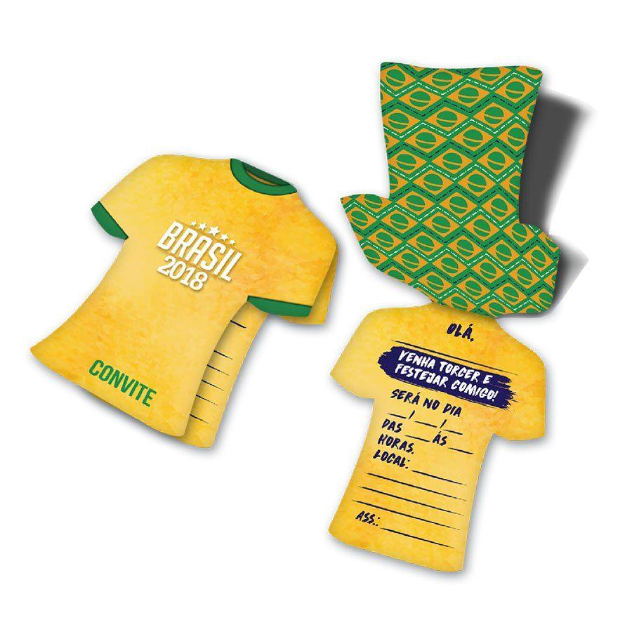 Convite Camisa do Brasil para Festa - 8 Unidades