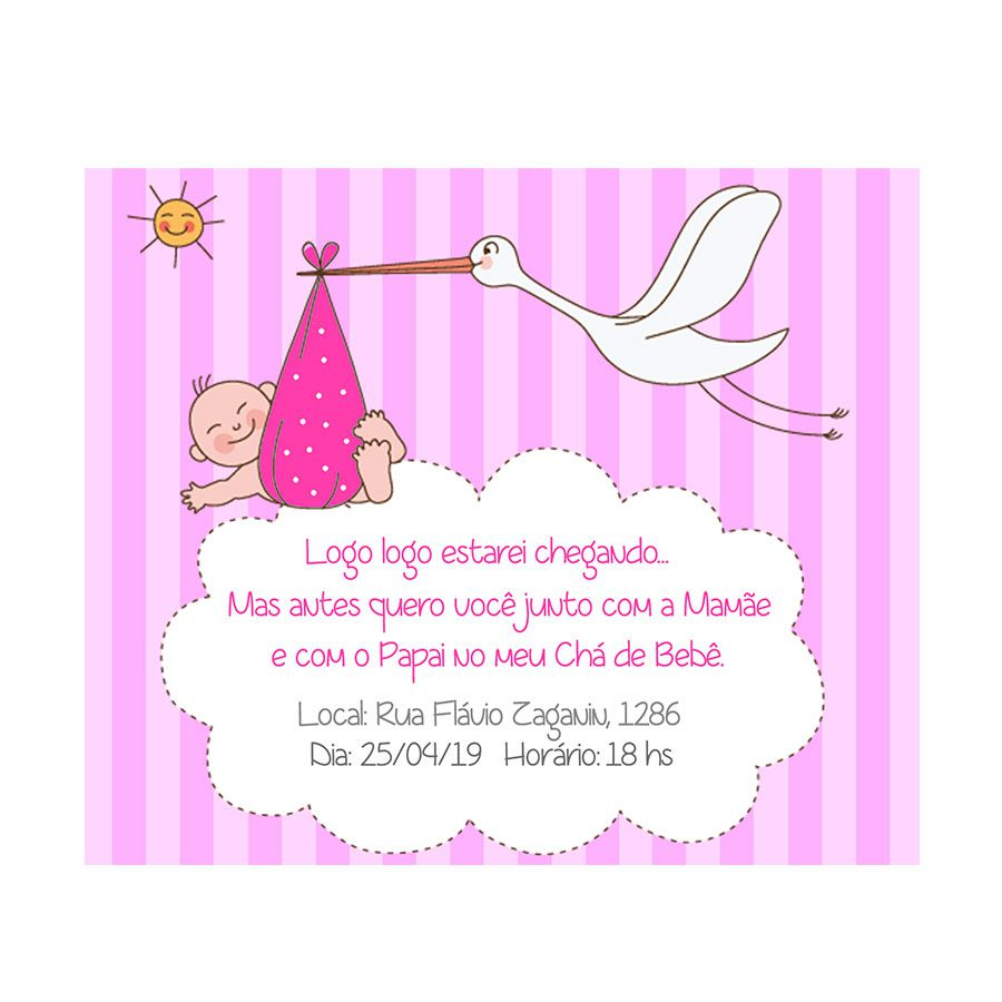 Convite Personalizado Chá de Bebê Menina