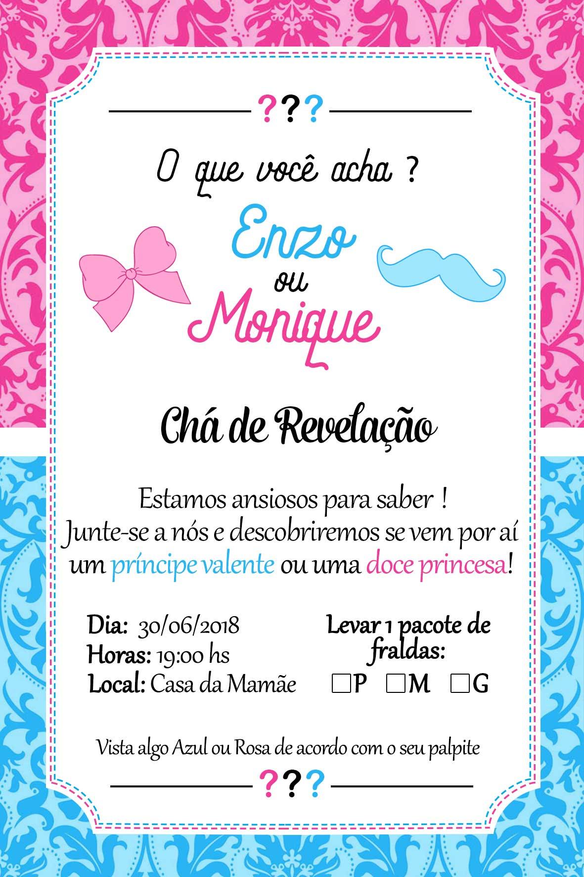 Convite Chá Revelação Personalizado 15x10