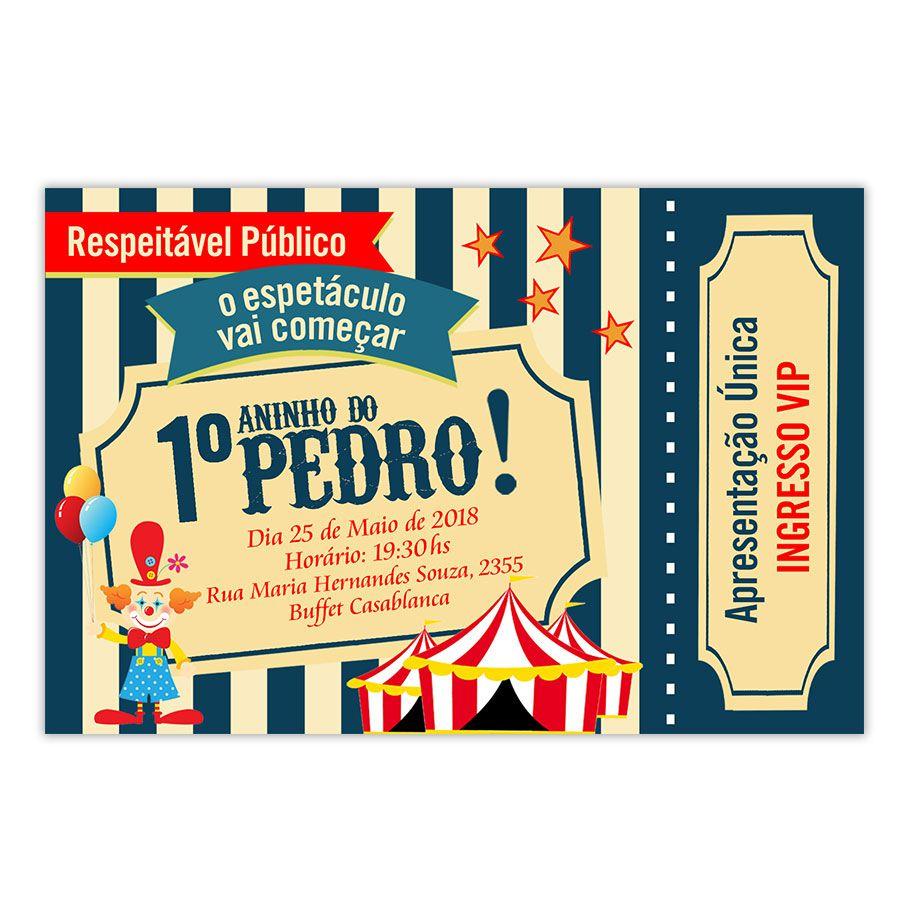 Convite Personalizado Festa Circo 15x10