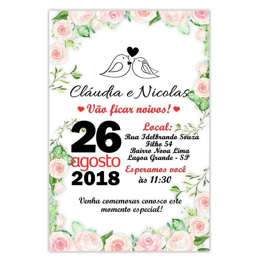 Convite Personalizado Festa de Noivos 15x10