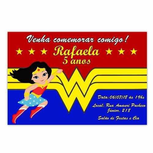 Convite Personalizado Mulher Maravilha 15x10 - 100 Unidades