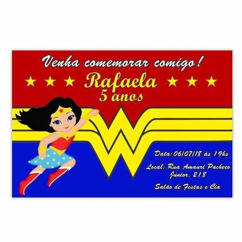 Convite Personalizado Mulher Maravilha 15x10 - 20 Unidades