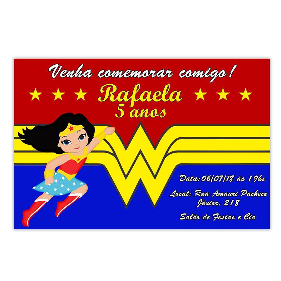 Convite Personalizado Mulher Maravilha