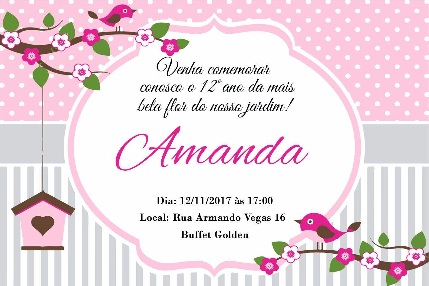 Convite Personalizado Passarinho 10x15