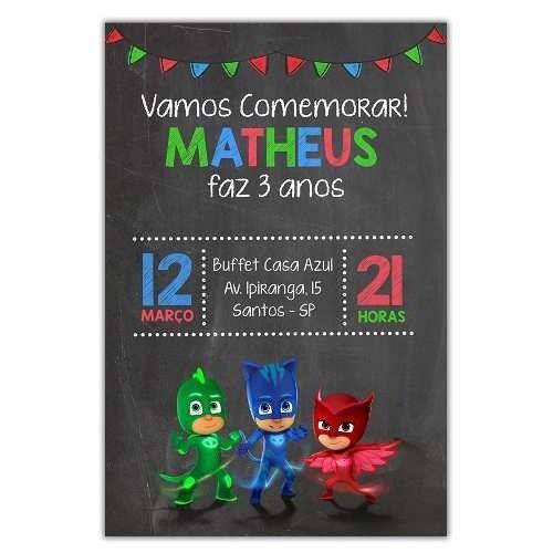 Convite Personalizado Pj Masks 15x10 - 20 Unidades