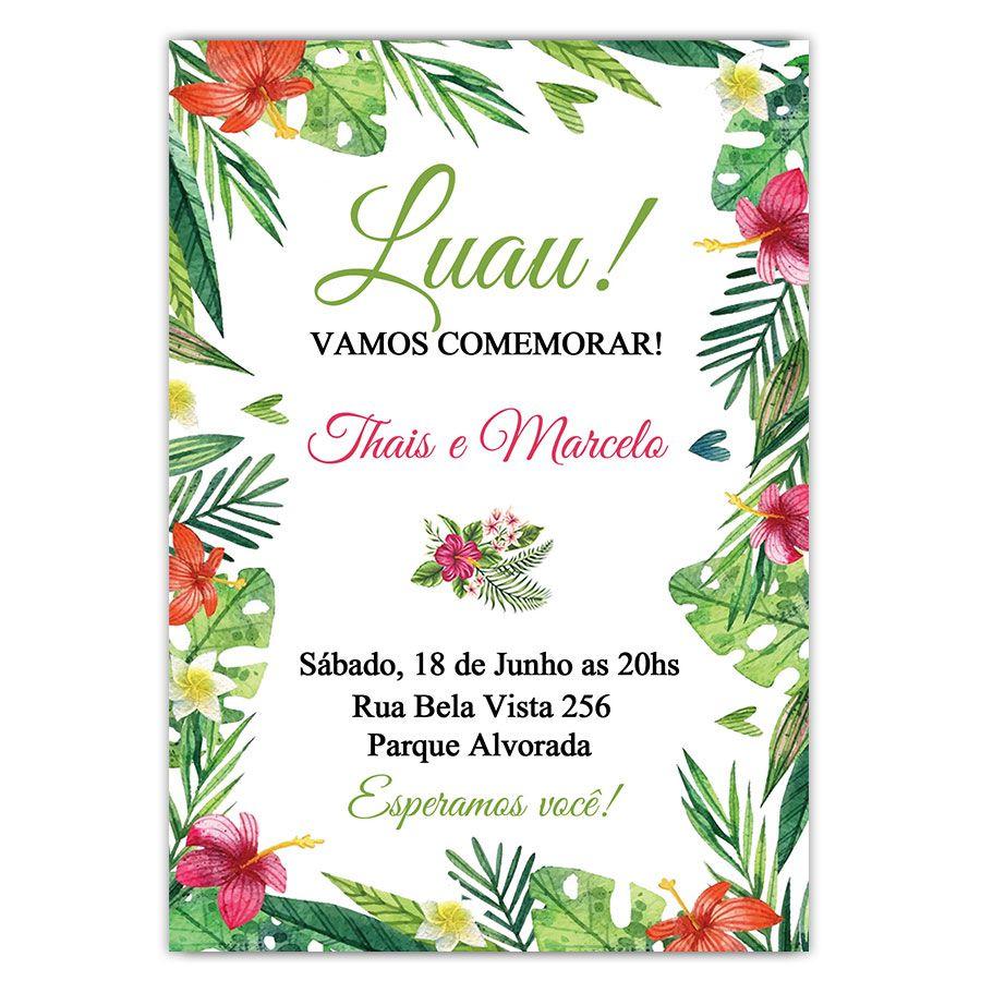 Convite Personalizado Festa Tropical Luau 15x10
