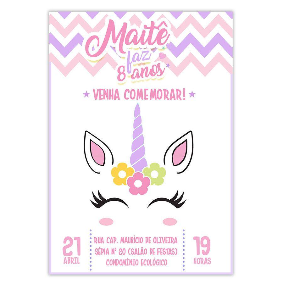 Convite Personalizado Festa Unicórnio 10x15