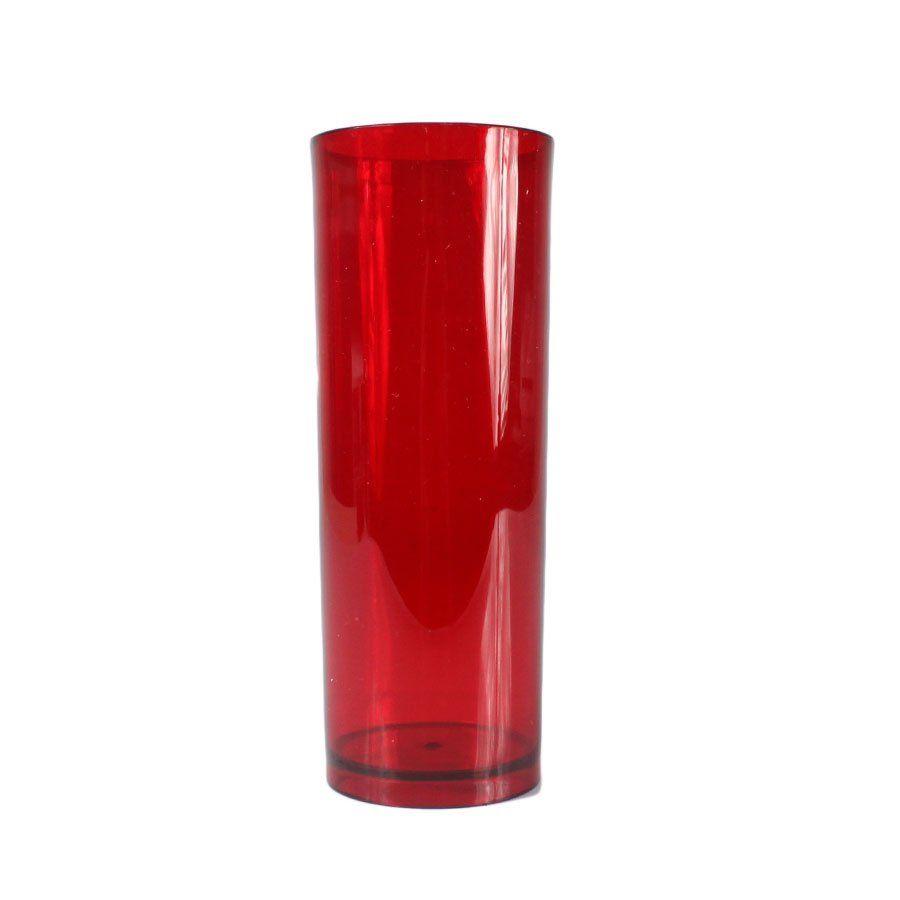 Copo Acrílico Long Drink Vermelho Translúcido 320ml