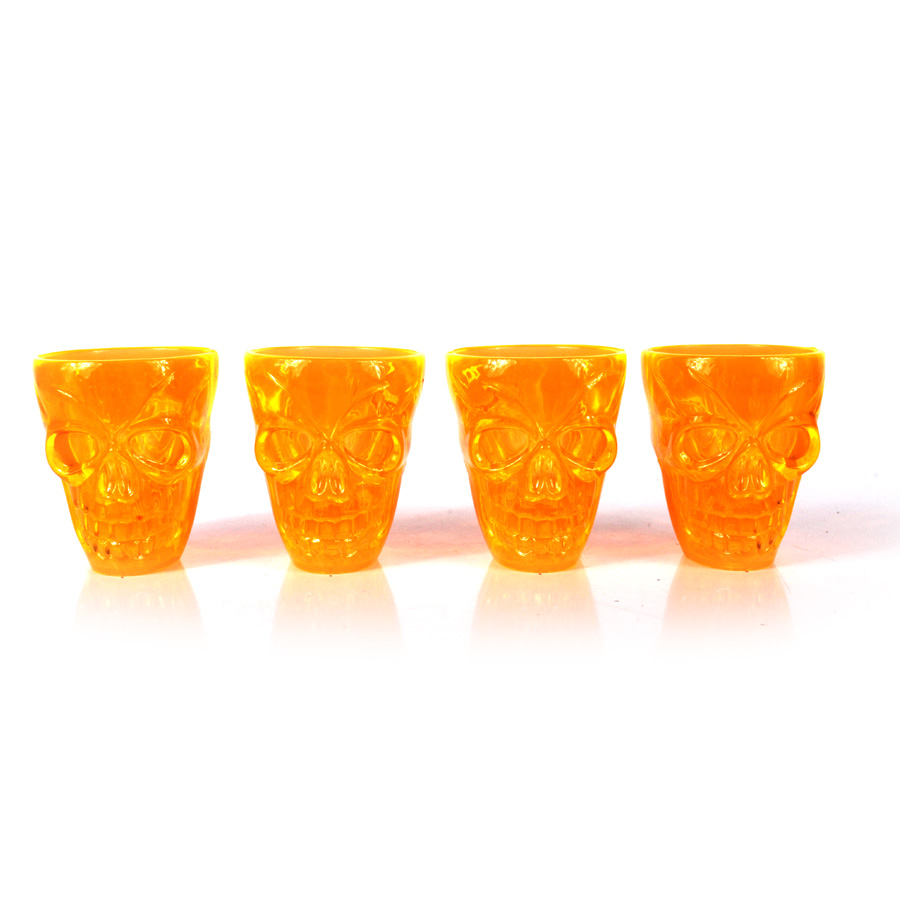 Kit Mini Copos de Shot Caveira de Halloween - 4 Unidades