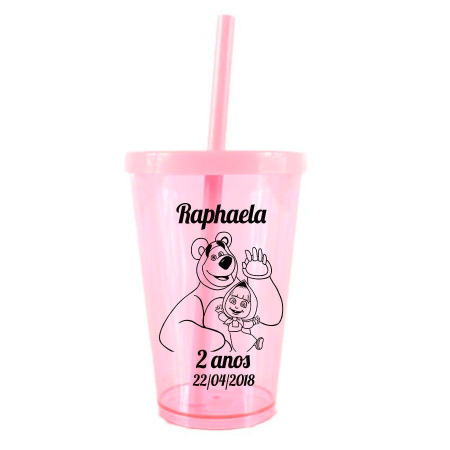 Copo Personalizado Masha e o Urso com Tampa e Canudo