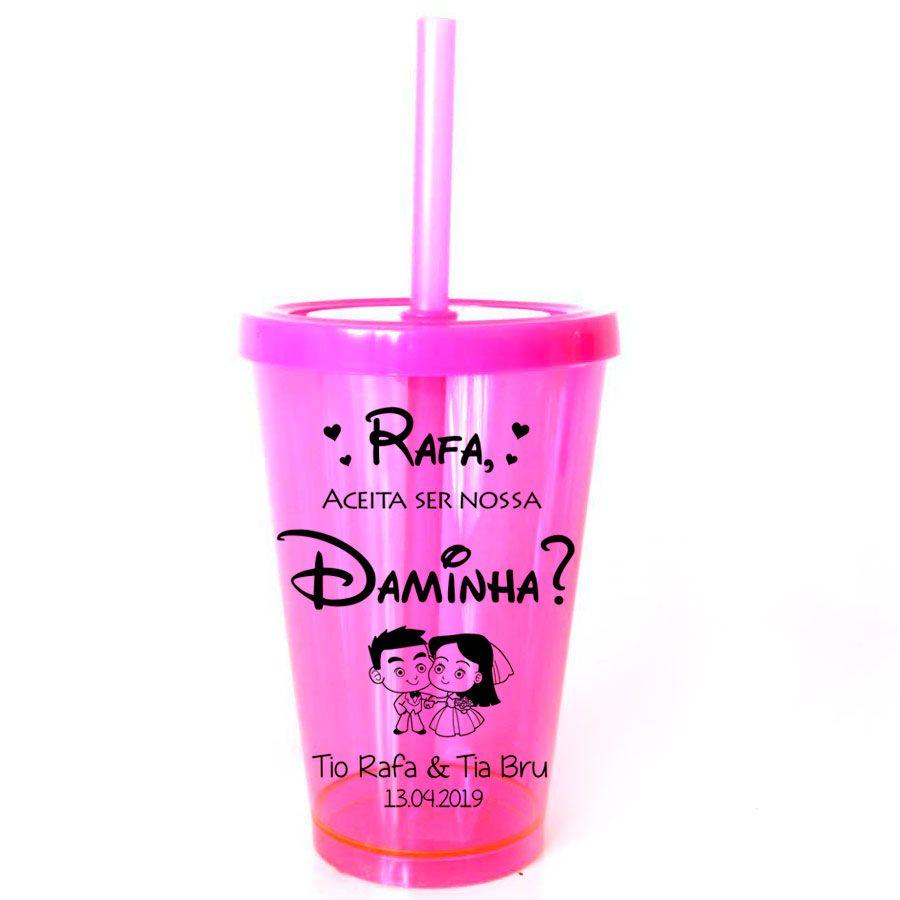Copo Personalizado Pajem e Daminha com Tampa e Canudo