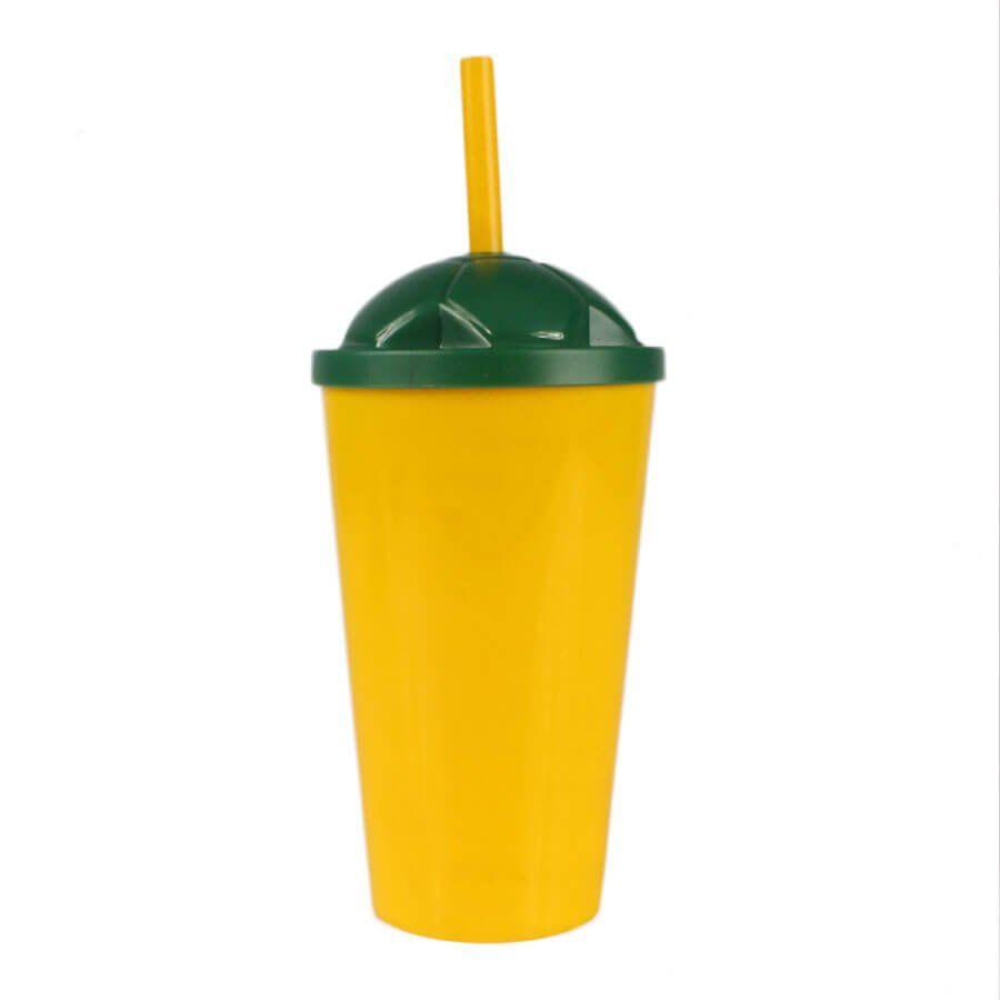 Copo Plástico Amarelo com Tampa Verde e Canudo 550ml
