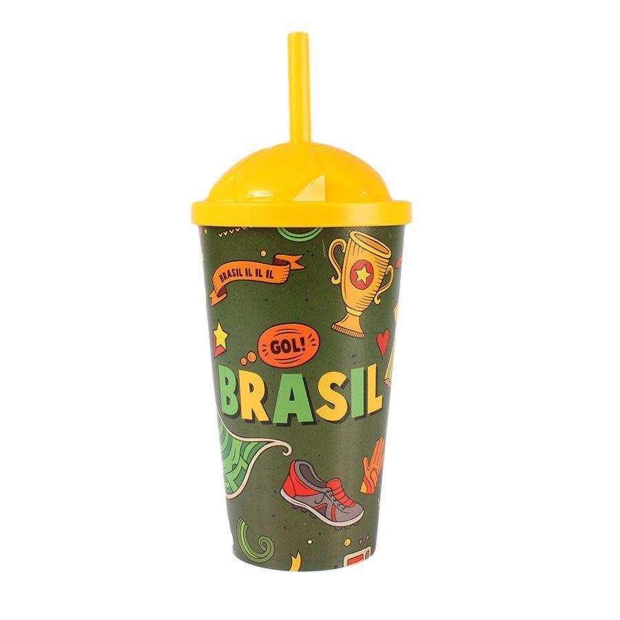 Copo Plástico Brasil Copa 2018 550ml com Tampa e Canudo