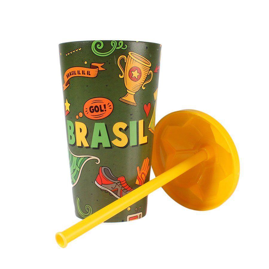 Copo Plástico Brasil 550ml com Tampa e Canudo