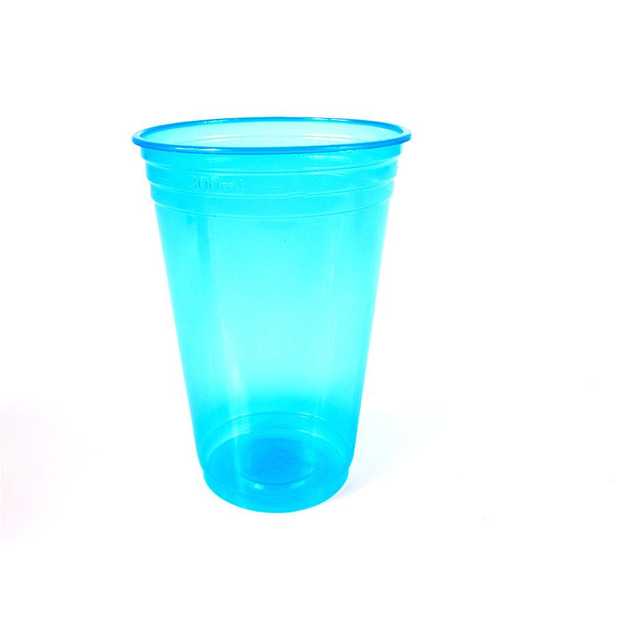 Copo Plástico Neon Azul 300ml - 25 Unidades