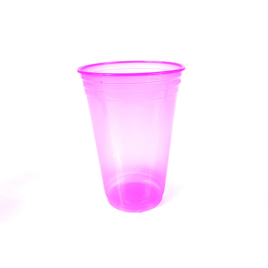 Copo de Plástico Balada Neon 300ml Rosa - 25 Unidades