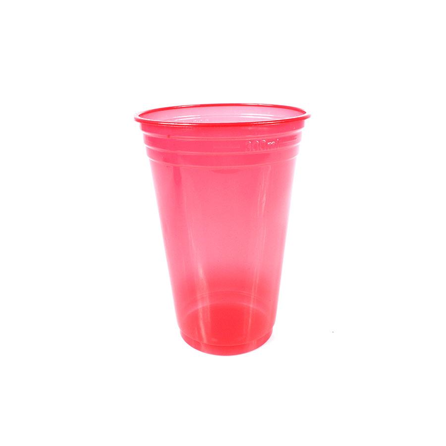 Copo Plástico Neon 300Ml C/25Un Vermelho