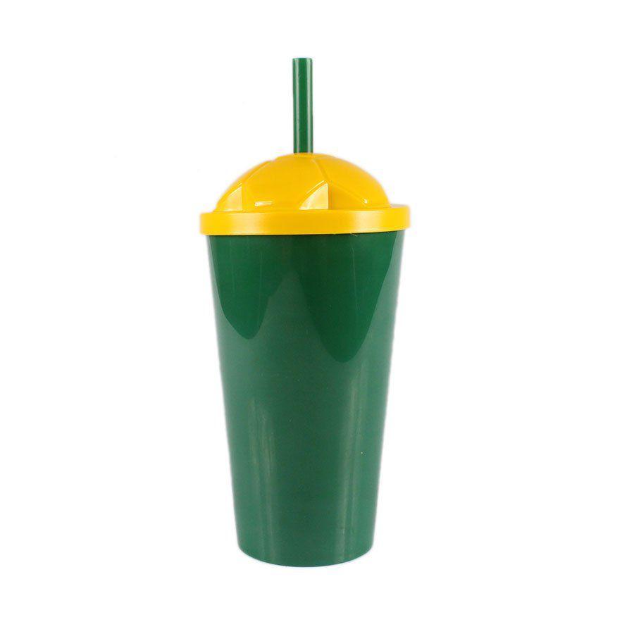 Copo Plástico Verde com Tampa Amarela e Canudo 550ml