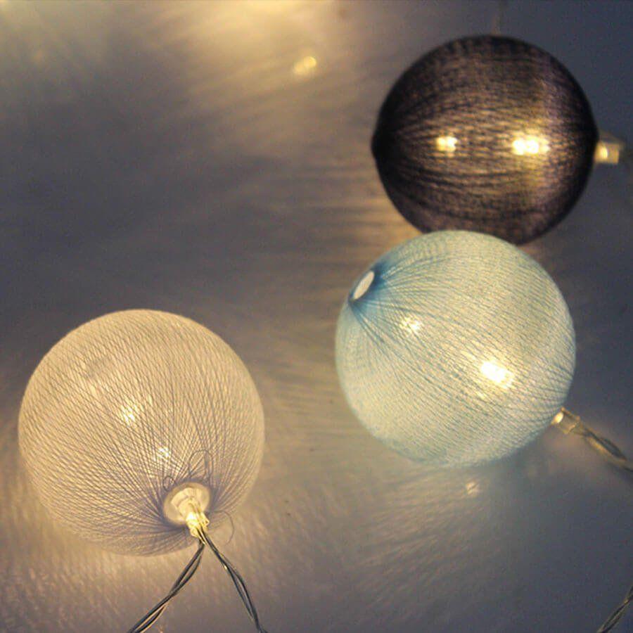 Cordão de Luz Bolas LED Azul Claro, Azul Escuro e Branco