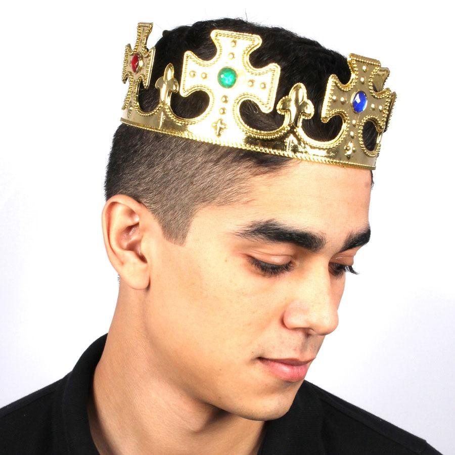 Coroa Plástica de Rei - Dourada e Prata