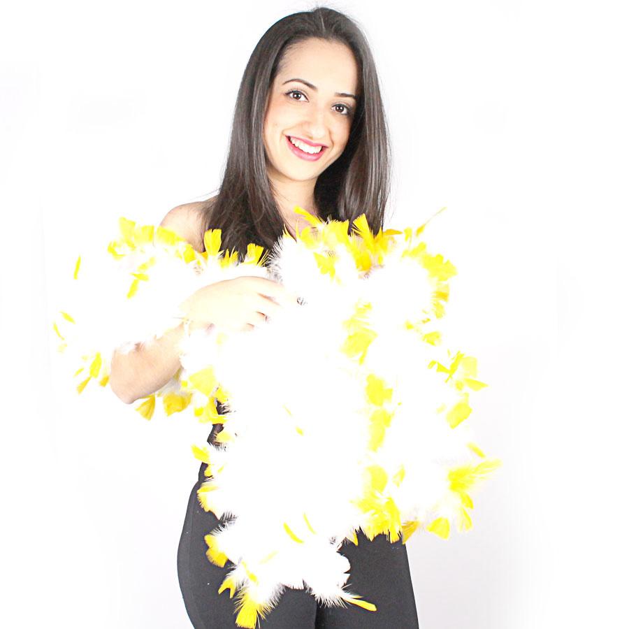 Estola Boá Branca de Pontas Amarelas