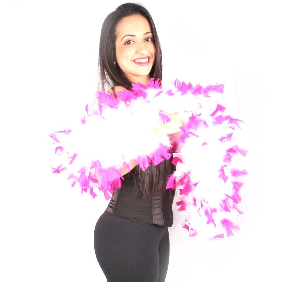 Estola Boá Grossa de Plumas - Branca com Pink
