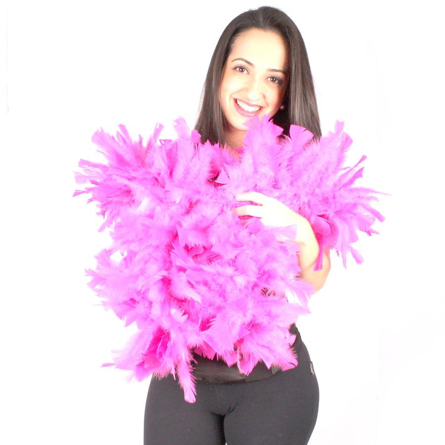 Estola Boá Grossa de Plumas Pink