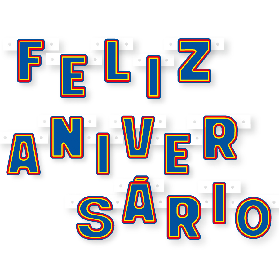 73b60cb51fc70 Faixa Feliz Aniversário Azul - Aluá Festas