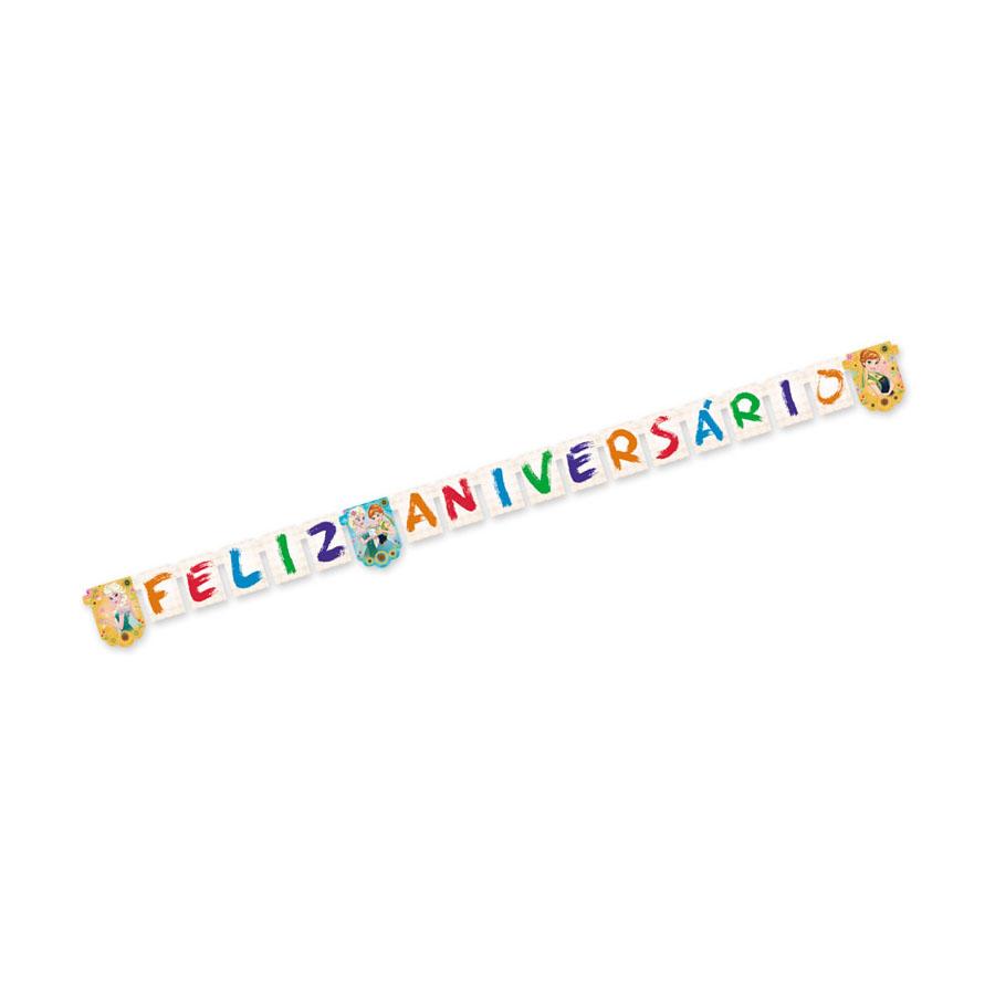 124f2a7ef378e Faixa Feliz Aniversário Frozen Fever - Febre Congelante Un - Aluá Festas